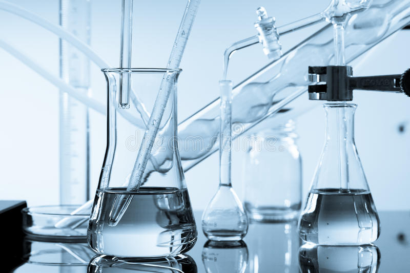 Chemical ware in the science. Lab laboratory royalty free stock photo