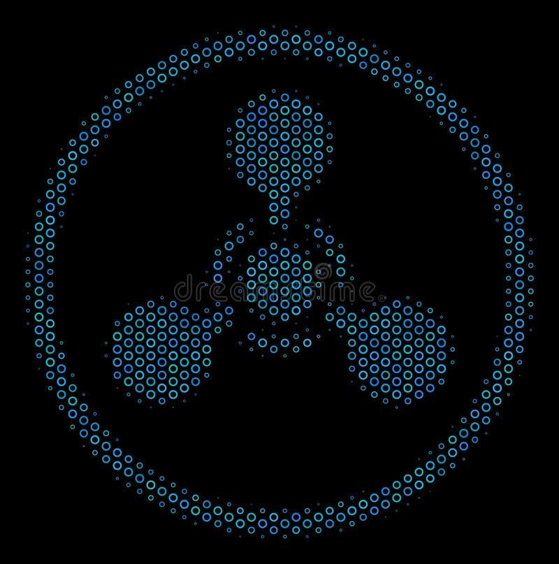 Chemical Warfare Mosaic för WMD-nervmedel symbol av rastrerade cirklar vektor illustrationer