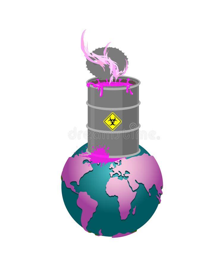 Chemical waste Barrel and earth. Pollution of planet. Nuclear wa royalty free illustration