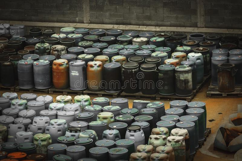 Chemical waste dump with a lot of barrels royalty free stock photos