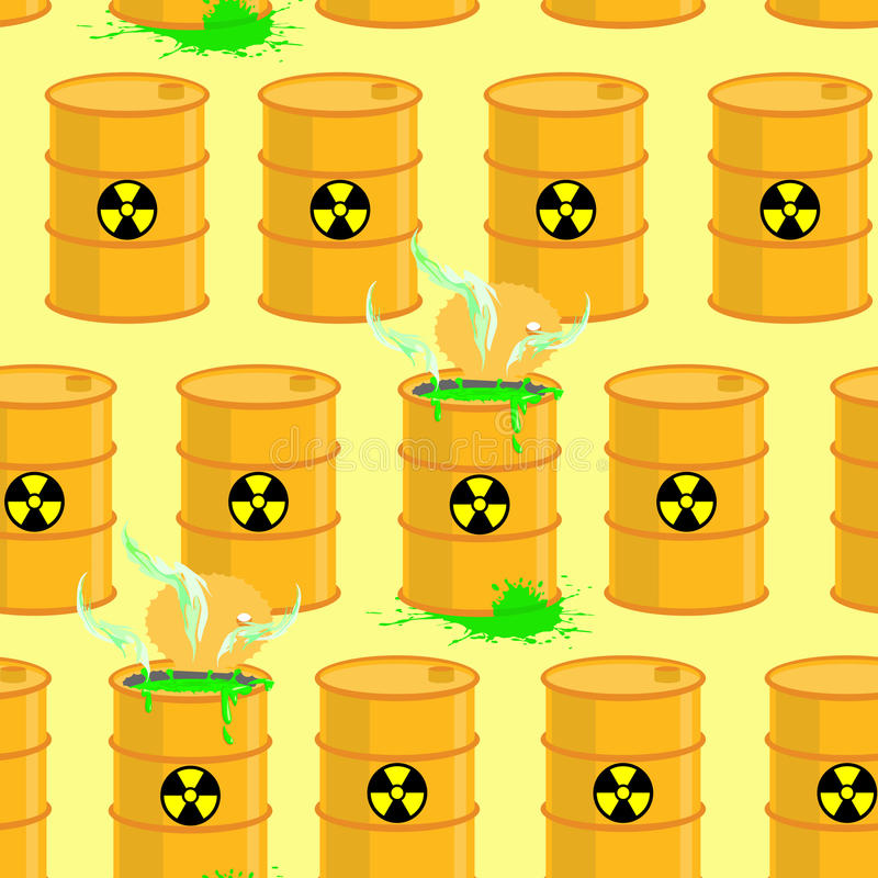 Chemical waste dump. Seamless pattern with barrels of biohazard. stock illustration