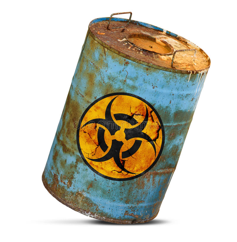 Chemical waste. Old dirty metal barrel isolated royalty free stock photography