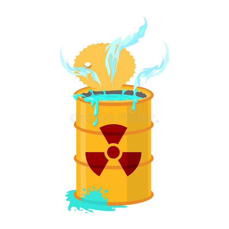 Chemical waste yellow barrel. Toxic refuse keg. Poisonous liquid vector illustration