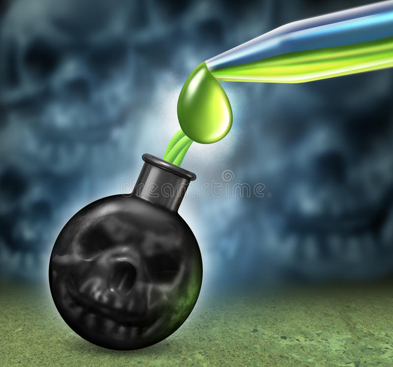 Chemical Weapons. Concept with a bomb as a human death skull being filled using an eye dropper with dangerous poison as nerve or mustard gas as a symbol of a vector illustration
