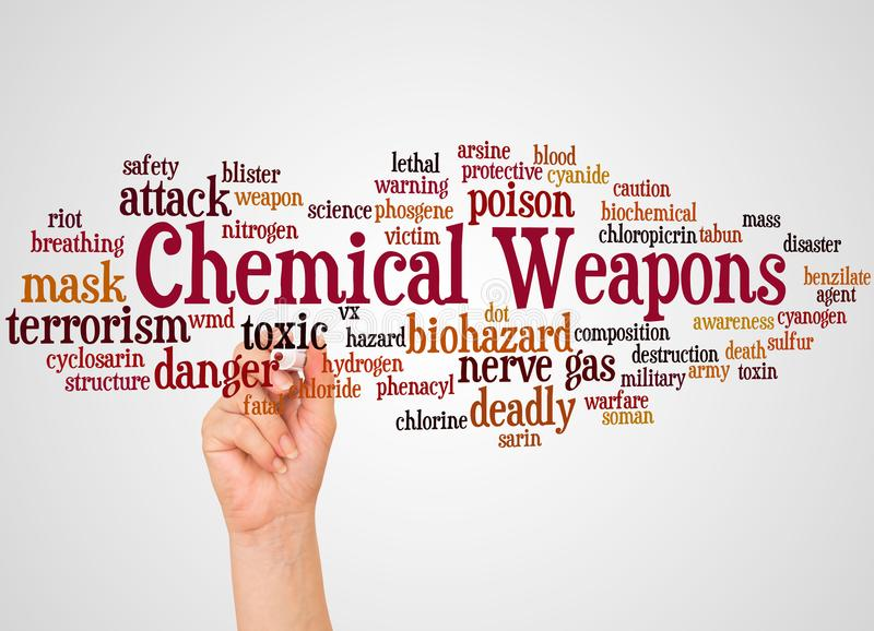 Chemical weapons word cloud and hand with marker concept stock photography