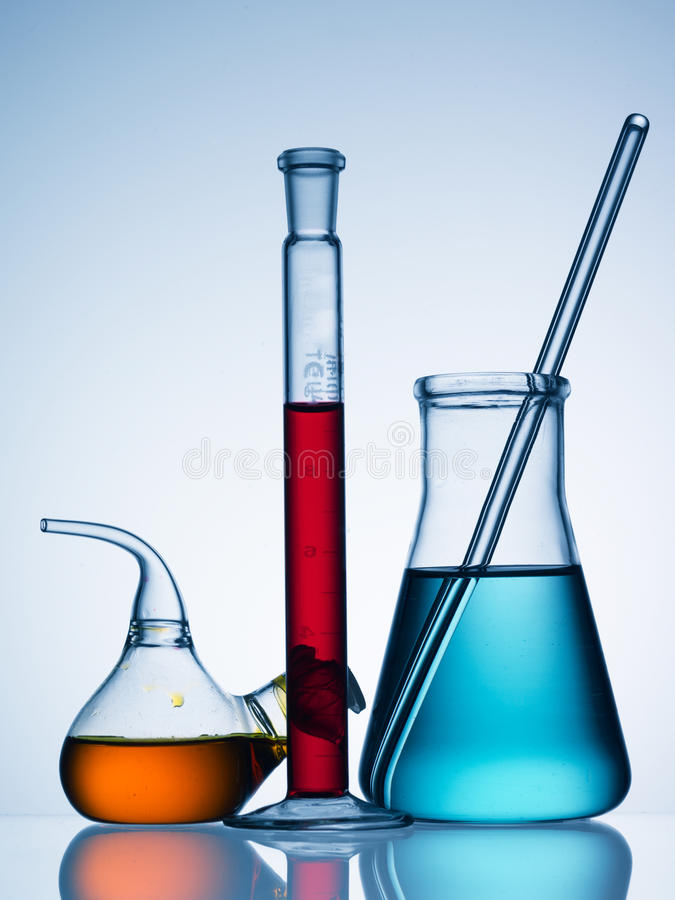 Chemicals in bottles royalty free stock image