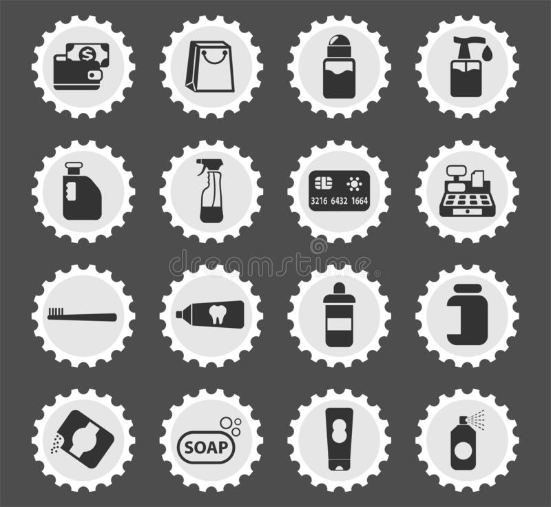 Chemicals store icon set. Chemicals store web icons stylized postage stamp for user interface design royalty free illustration