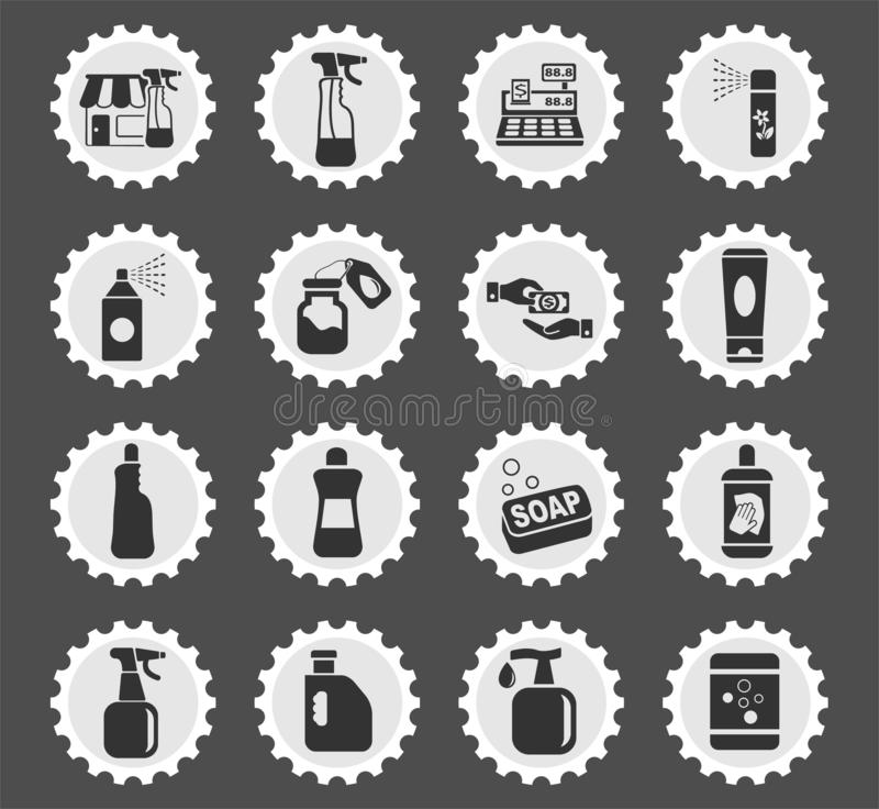 Chemicals store icon set. Chemicals store web icons stylized postage stamp for user interface design vector illustration