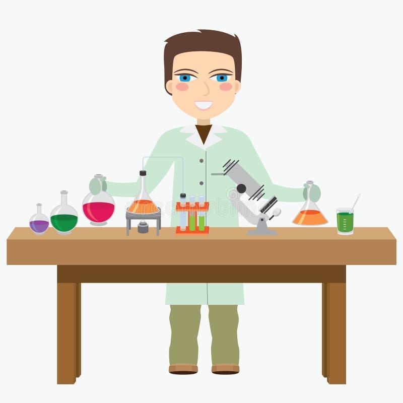 Chemicus in het laboratorium. royalty-vrije illustratie