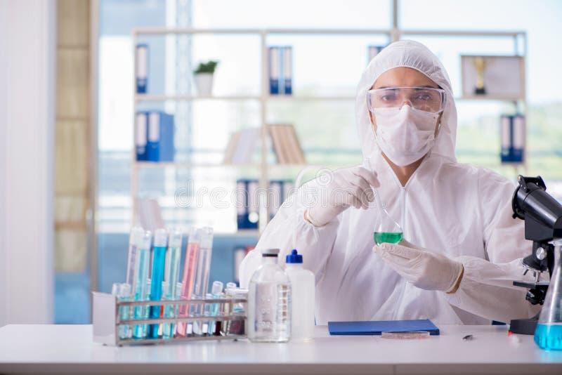 Chemicus het testen in het uittreksel van de laboratoriumcannabis voor medisch p royalty-vrije stock fotografie