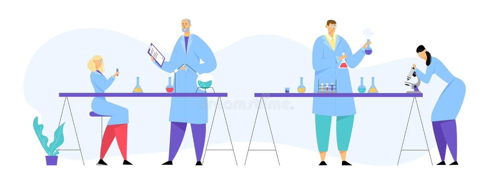 Chemicy Scientists, Professional People Characters Chemists lub Doctors Research Medical Experiment in the Laboratory ilustracji