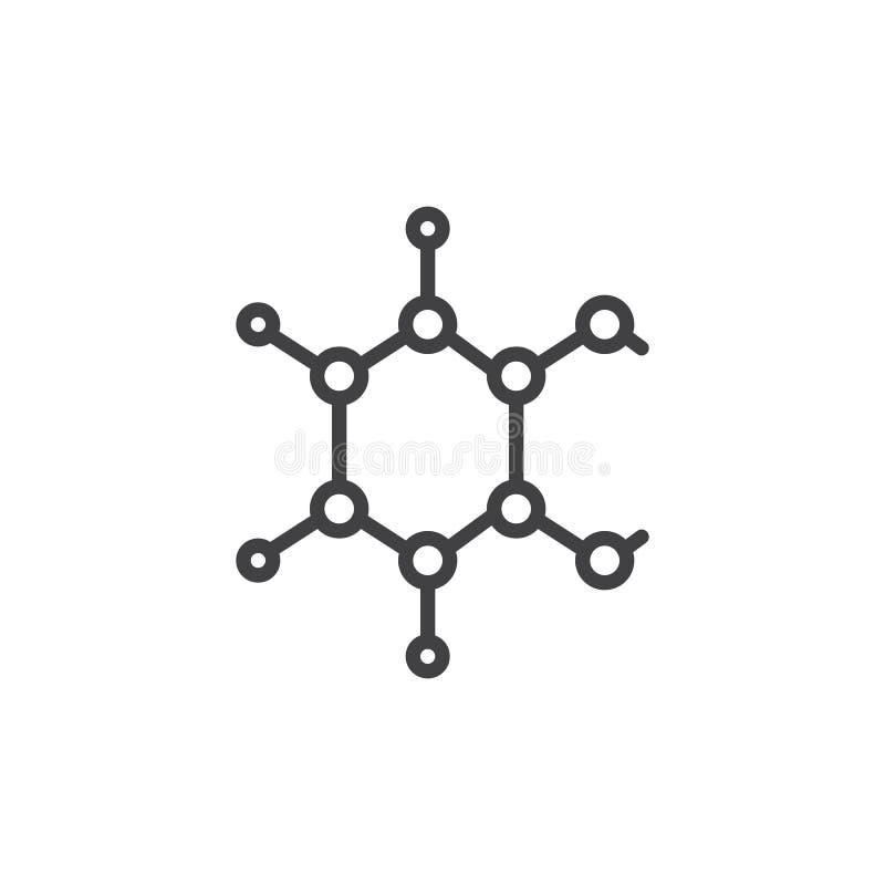 Chemiczna atom struktury linii ikona royalty ilustracja