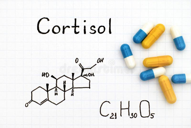 Chemiczna formuła Cortisol z niektóre pigułkami zdjęcia royalty free