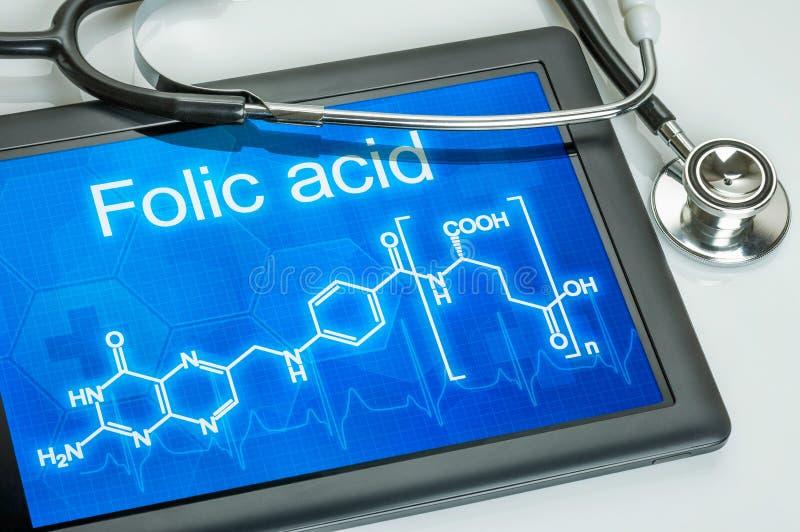 Chemiczna formuła Folic kwas fotografia stock