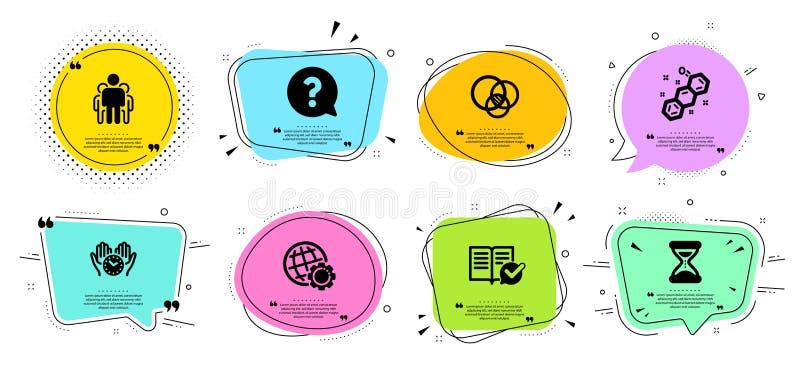 Chemiczna formuła, ikony ustawiać, grupy i czasu Euler diagram, Zatwierdzona dokumentacja i znak zapytania znaki, wektor ilustracja wektor