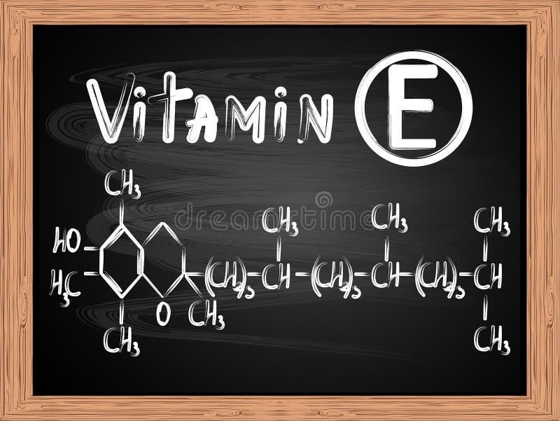Chemiczna formuła pisać na blackboard witamina E ilustracja wektor