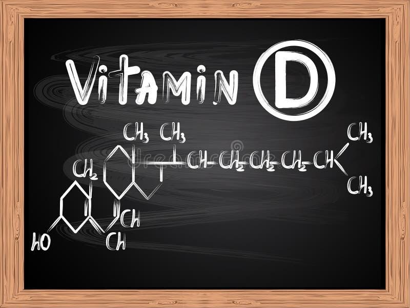 Chemiczna formuła pisać na blackboard witaminy d ilustracja wektor