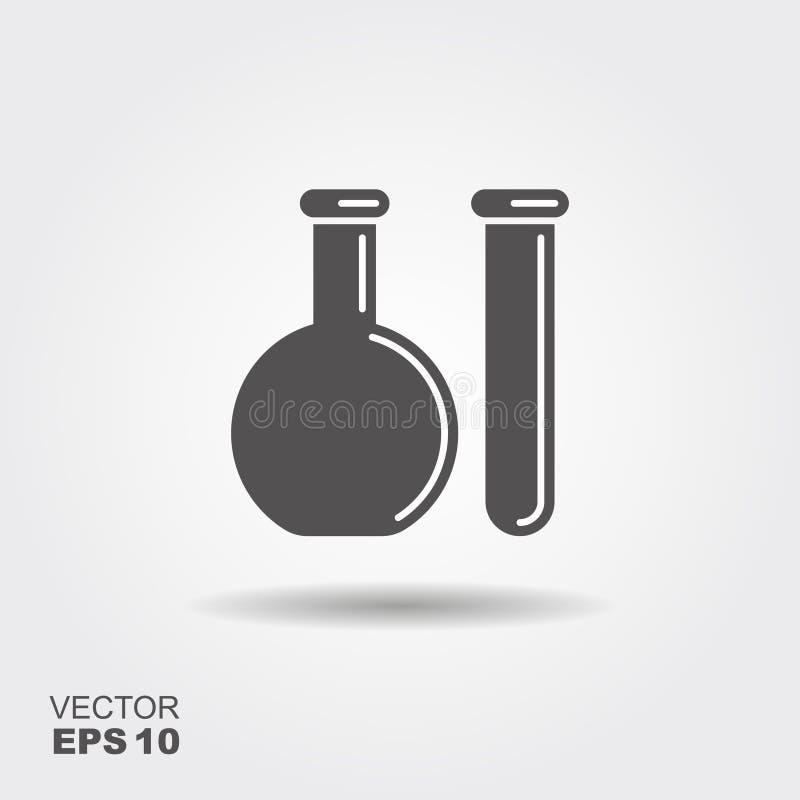 Chemiczna kolba i próbna tubka kuli ziemskiej loga wektoru sieć ilustracja wektor