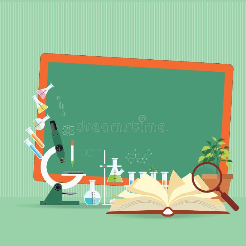 Chemiczna laborancka nauki lekcja z otwartą książką i mikroskopem ilustracja wektor