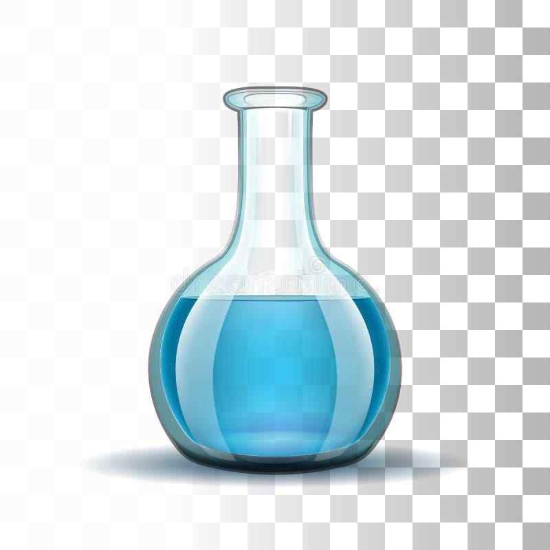 Chemiczna laborancka przejrzysta kolba z błękitem ilustracji