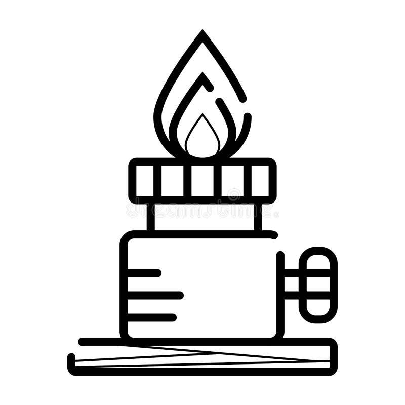 Chemiczna palnik linii ikona ilustracji
