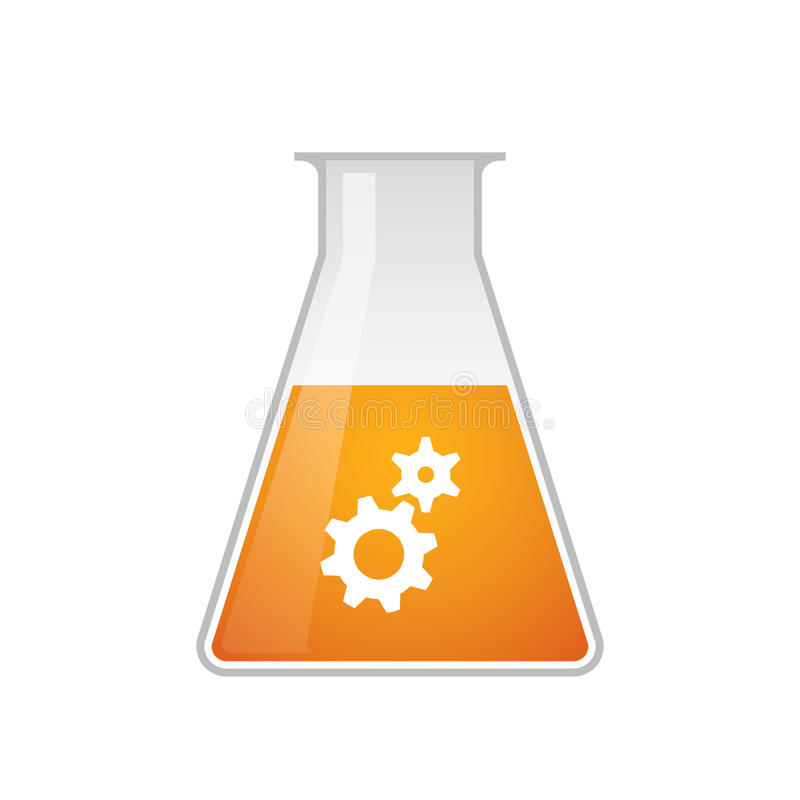 Chemiczna próbna tubka z przekładni ikoną royalty ilustracja