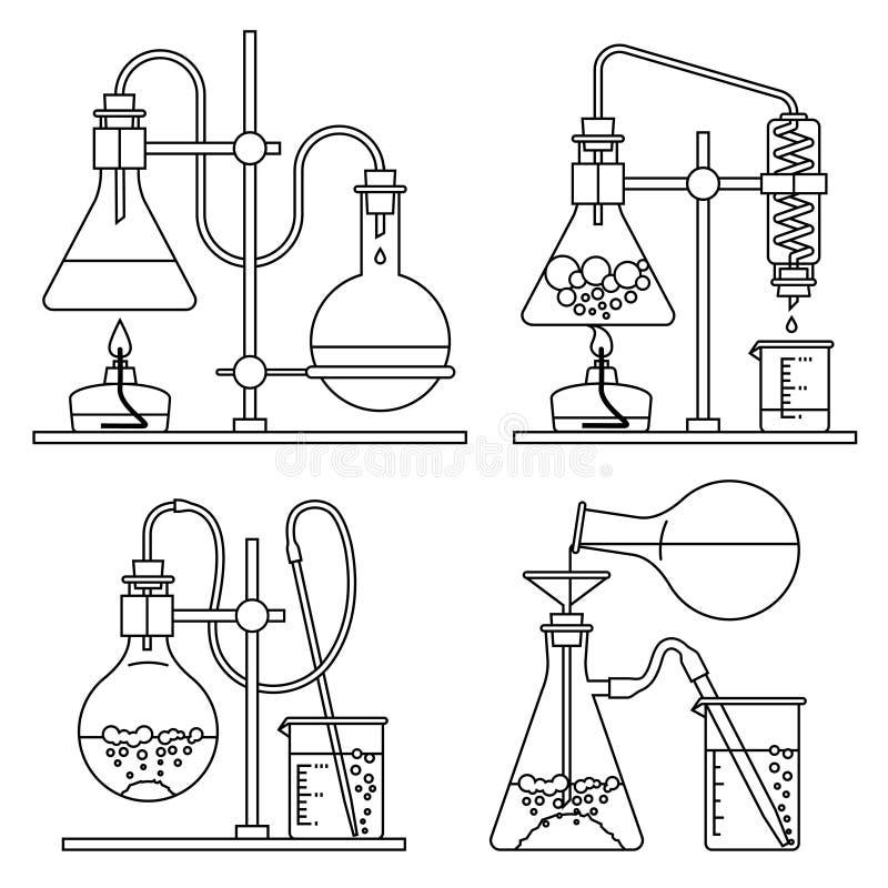 Chemiczne glassware ikony ustawiać ilustracji