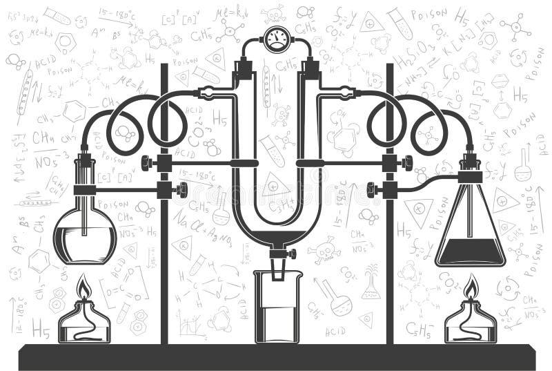 Chemiczne kolby i węże elastyczni ilustracji