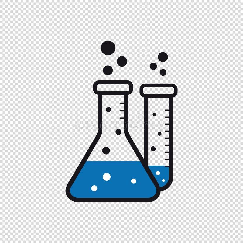 Chemiczne Próbne tubki Odizolowywać Na Przejrzystym tle - Wektorowe Ilustracyjne ikony - ilustracji
