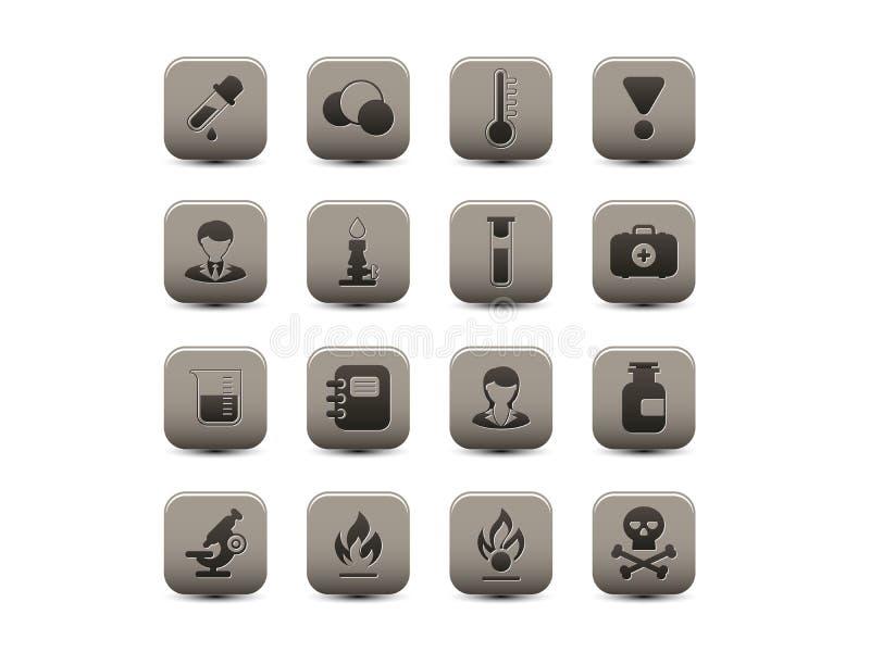 Chemiczne szare ikony ilustracja wektor