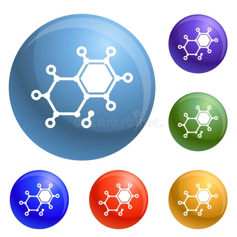 Chemicznego elementu molekuły ikona ustawiający wektor royalty ilustracja