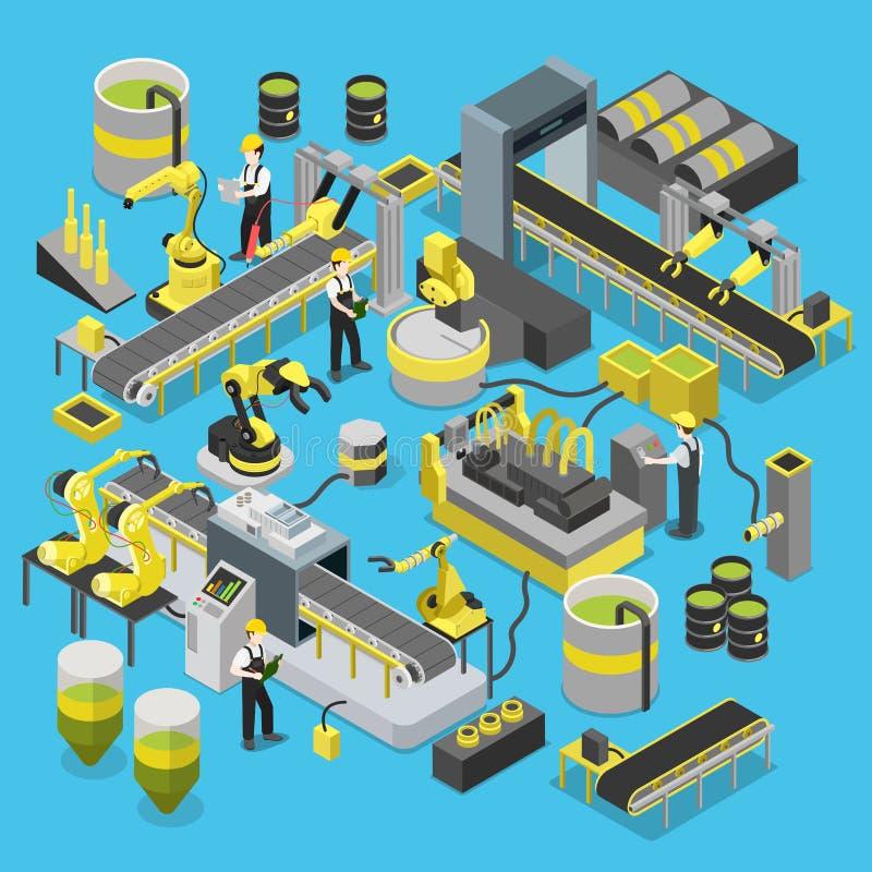 Chemicznego produkcja konwejeru warsztatowe robotyka wykładają mieszkanie 3d royalty ilustracja