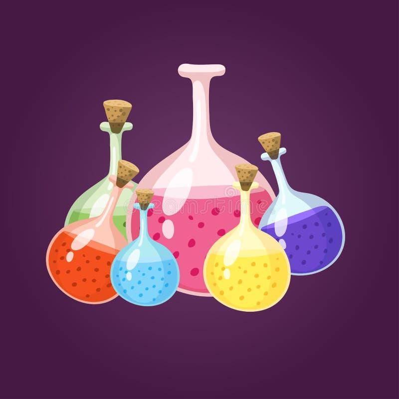 Chemicznej laboranckiej kolbiastej glassware tubki biotechnologii ciekła analiza i medyczny naukowy wyposażenie chemii lab royalty ilustracja