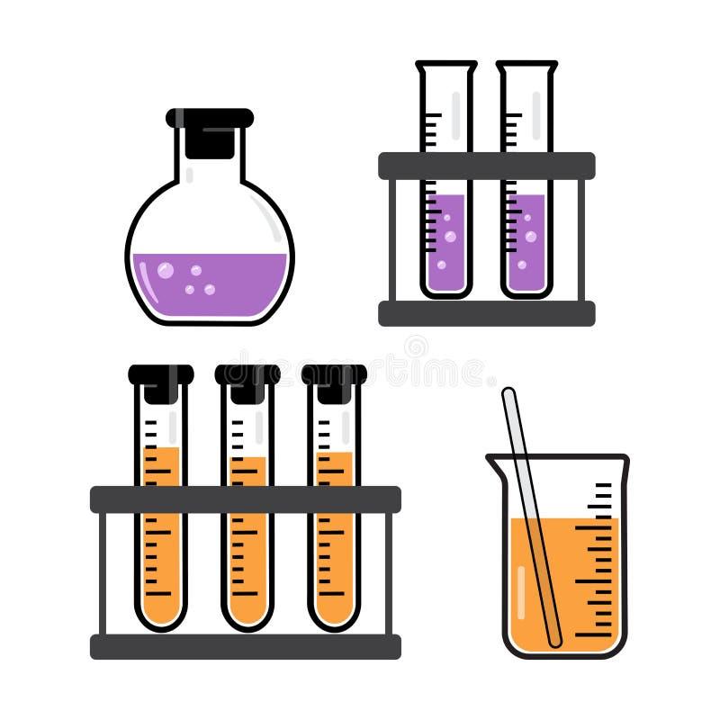 Chemiczni naczynia i kolby z cieczem purpurowym i pomarańczowym wektor royalty ilustracja