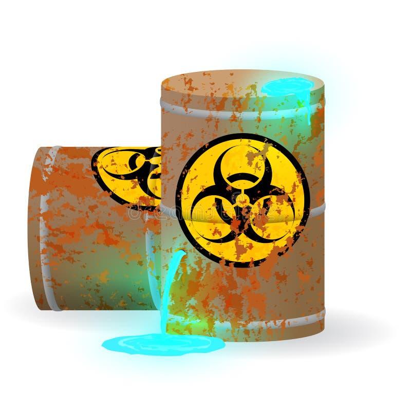Chemiczny biologiczny odpady w ośniedziałej baryłce Toksyczny błękitny fluorescencyjny ciecz w baryłce Zanieczyszczenia środowisk ilustracji