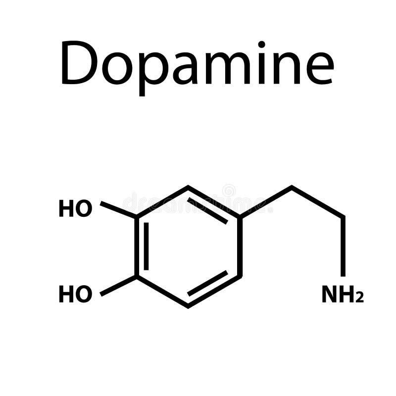 Chemiczny cząsteczkowej formuły hormonu dopamine Hormon przyjemność r ilustracja wektor