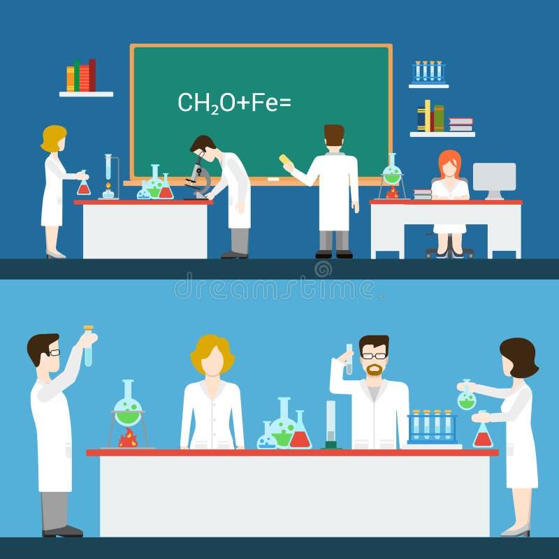 Chemiczny farmaceutyczny laborancki lab wnętrza pe ilustracji