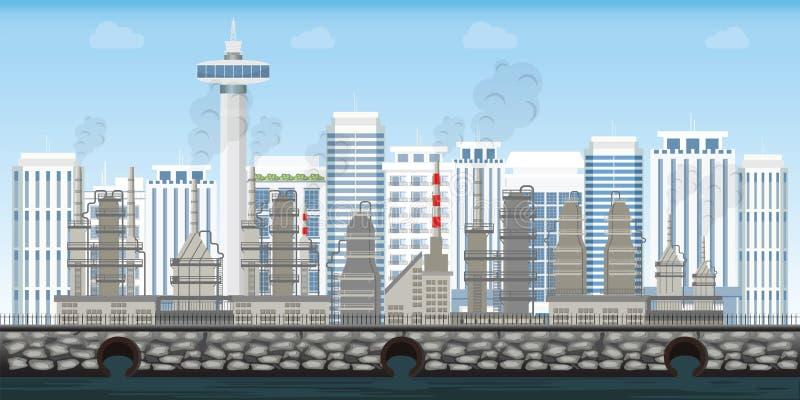 Chemiczny przemysłowy krajobraz na miastowym miasto krajobrazie royalty ilustracja