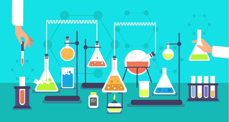 Chemiczny wyposażenie w chemii analizy laboratorium Nauki laboratorium badawczego eksperymentu wektoru szkolny tło ilustracja wektor