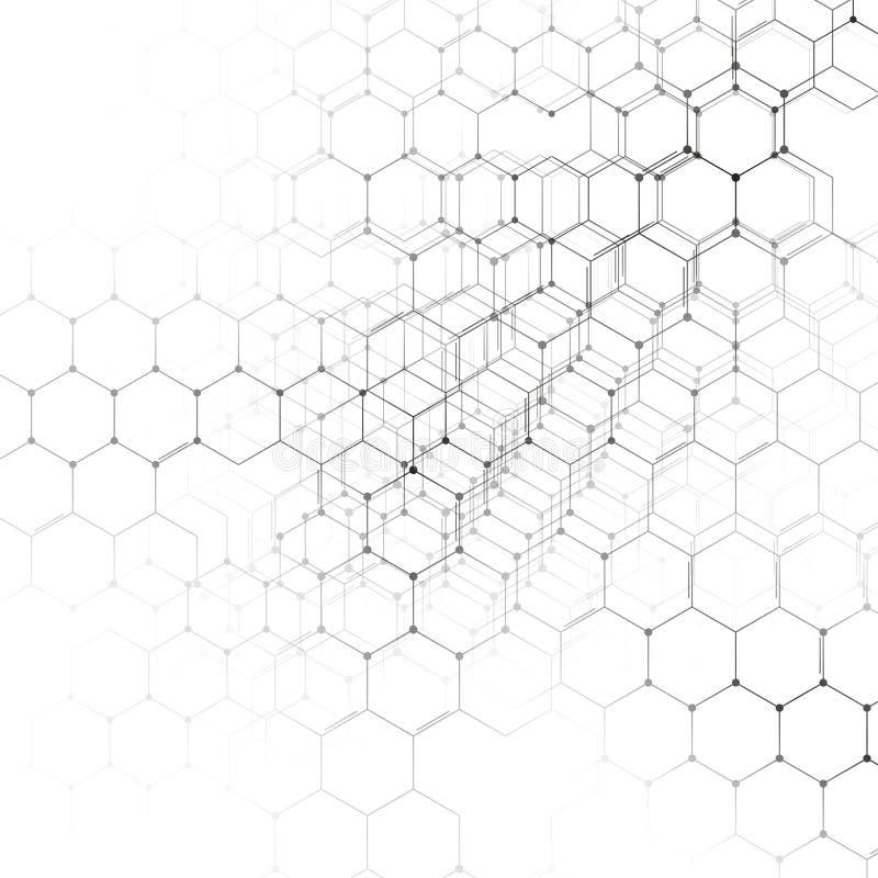 Chemie 3D patroon, hexagonale moleculestructuur bij het witte, wetenschappelijke medische onderzoek vector illustratie