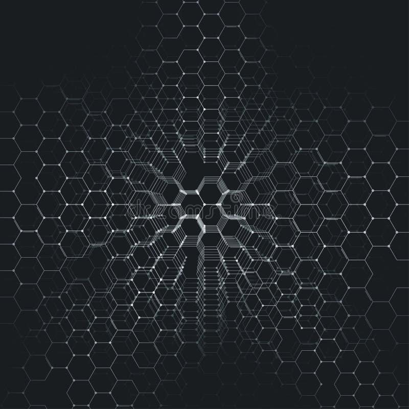 Chemie 3D patroon, hexagonale moleculestructuur bij het zwarte, wetenschappelijke medische onderzoek royalty-vrije illustratie