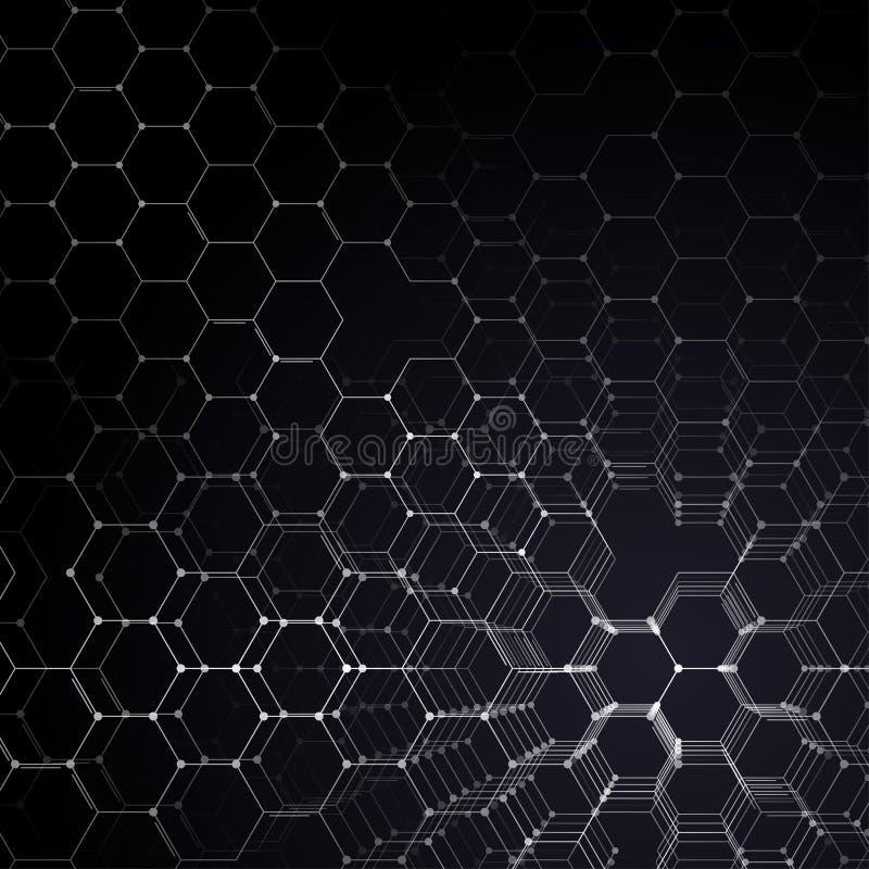 Chemie 3D patroon, hexagonale moleculestructuur bij het zwarte, wetenschappelijke medische onderzoek Geneeskunde, wetenschap en vector illustratie