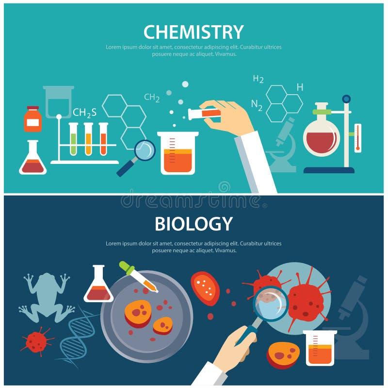 Chemie en biologieonderwijsconcept stock illustratie