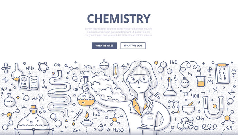 Chemie-Gekritzel-Konzept lizenzfreie abbildung