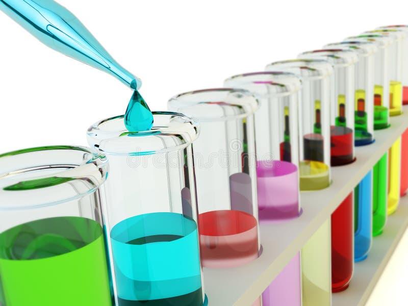 Chemie, het chemische experiment en concept van het wetenschapsonderzoek stock illustratie