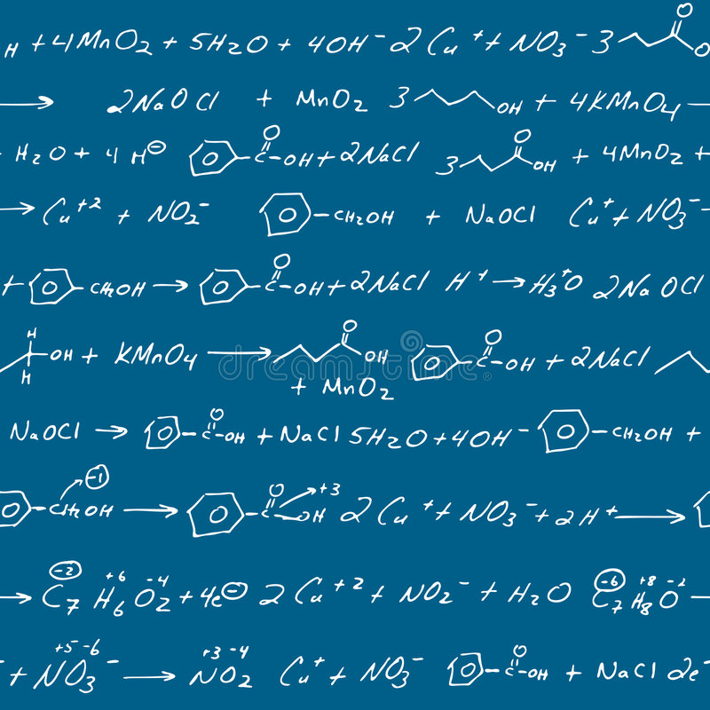 Chemie kritzelt Tafel lizenzfreie abbildung