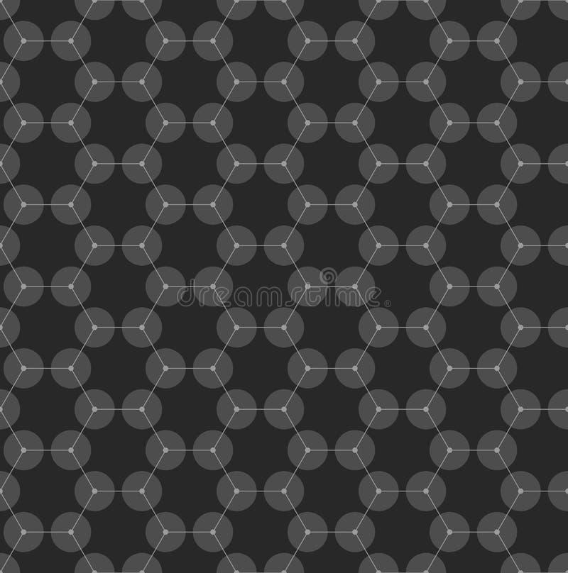Chemie naadloos patroon, de hexagonale structuur van de ontwerpmolecule bij het zwarte, wetenschappelijke of medische DNA-onderzo vector illustratie