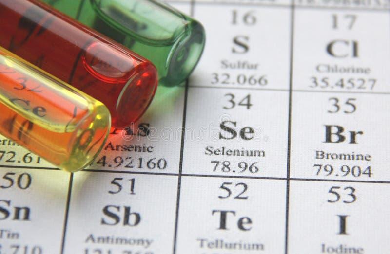 Chemie. Reageerbuisreeks stock afbeelding