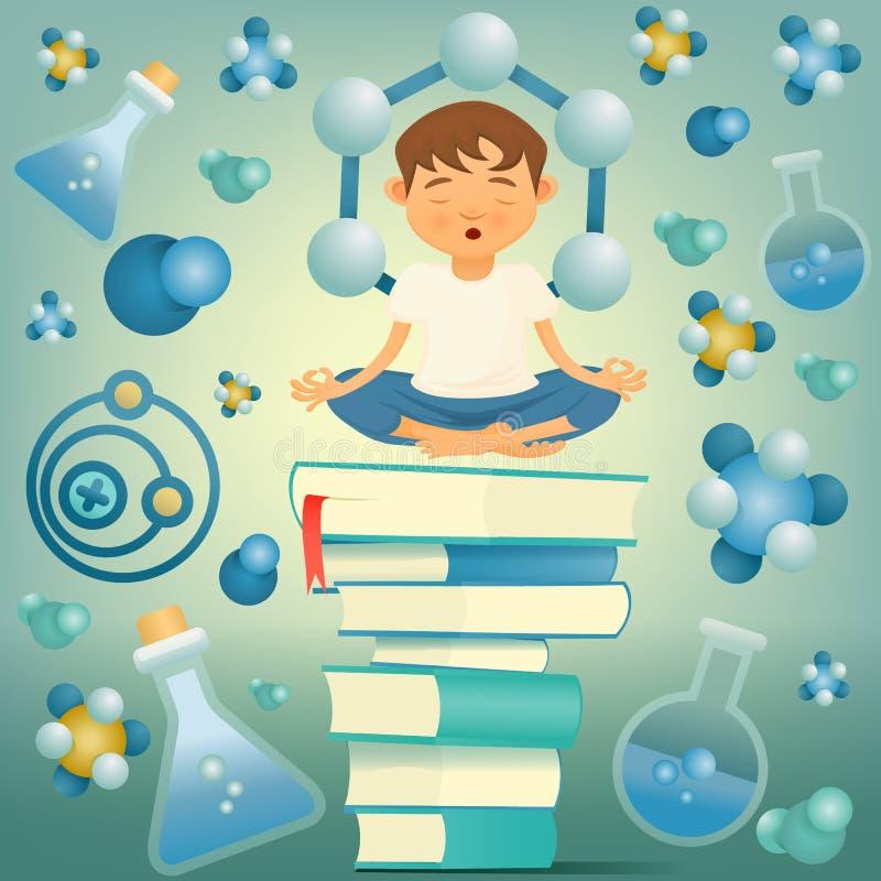 Chemie- und Biologiebildungsyoga-Jungenkonzept vektor abbildung
