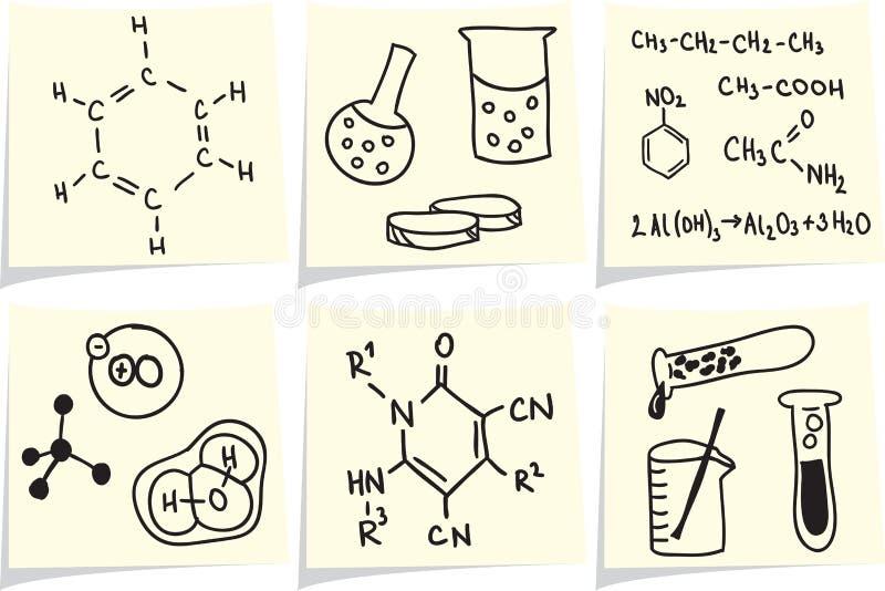 Chemie- und Biologieikonen auf gelbem Protokoll haftet lizenzfreie abbildung